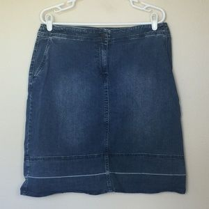 TALBOTS Woman Petites Denim Skirt Distressed 12WP